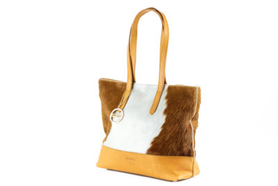 Cowhide shoulder handbag