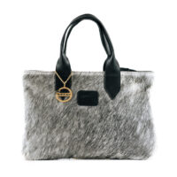 Cowhide Grey small leather tote bag