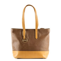 Brown on tan shoulder handbag