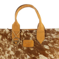 Cowhide large tote leather bag