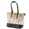Cowhide grey shoulder handbag