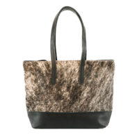 Cowhide grey leather shoulder handbag