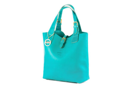 Turquoise Leather Tote Bag