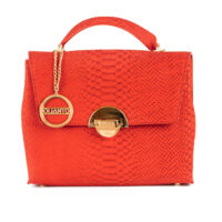 Red Leather Croc Tote